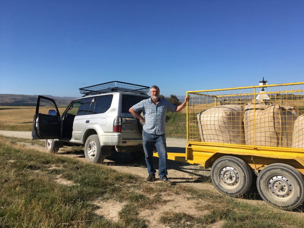 Wool bales on the trailer